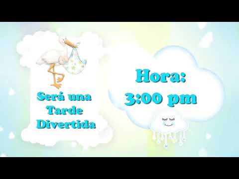 Video Baby Shower Nubes Niño Tarjeta De Invitación Animada