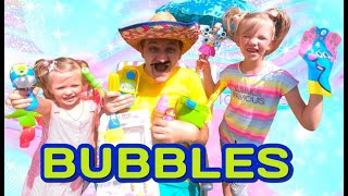 Nastya and Eva pretend play with daddy and bubbles. Baby Time - kids channel.