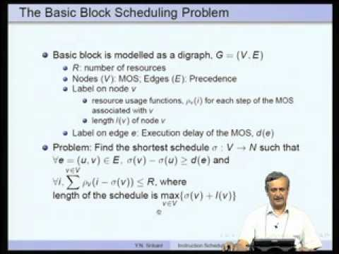 Instruction Scheduling Video Lecture By Prof Y N Srikant Of Iisc Bangalore