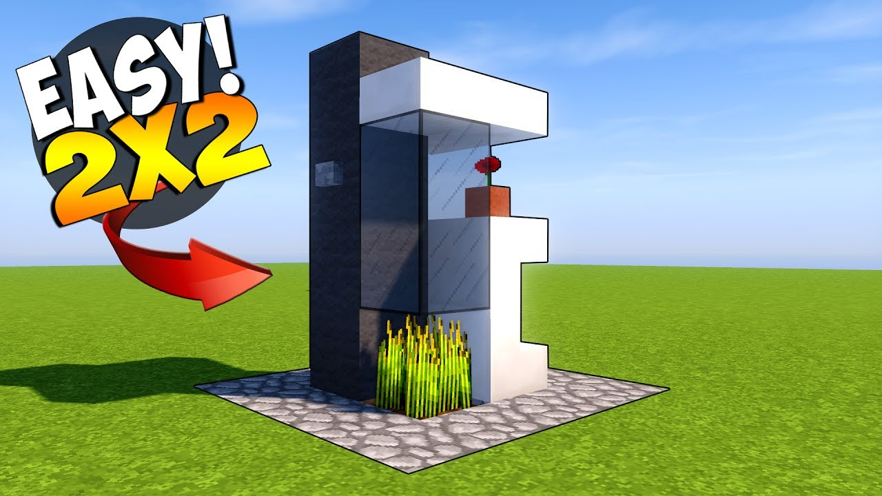 Smallest Tree House In The World minecraft: 2x2 modern house tutorial ( smallest minecraft house