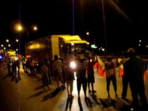 Caravana camiones , chile ayuda a chile