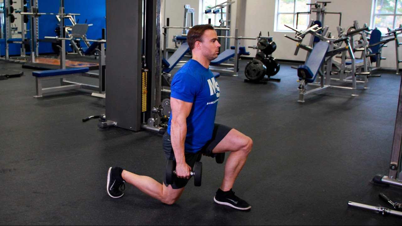 Dumbbell Walking Lunge: Video Exercise Guide & Tips