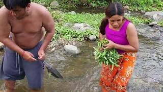 Jungle Life - Find cat fish By Man And Woman - cat fish Cooking #04