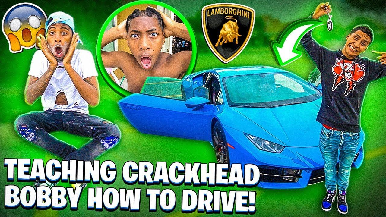 TEACHING CRACKHEADBOBBY HOW TO DRIVE A LAMBORGHINI!?