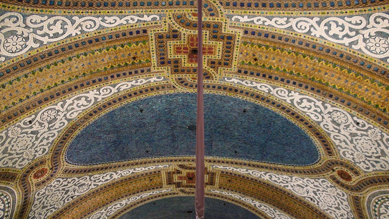 tiffany art glass mosaic ceiling macy s field s chicago youtube