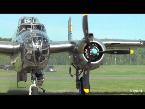 CAF North American B-25J Mitchell [Miss Mitchell] Start up, Takeoff, Flyby | KANE