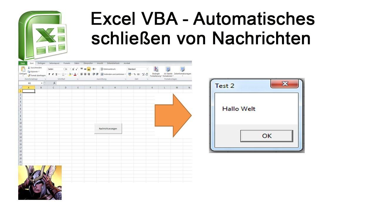 Excel VBA - MsgBox. Nachricht nach Zeit schließen - Variante #1 - YouTube