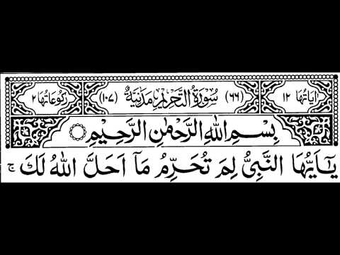 Surah Tahreem Full II By Sheikh Shuraim With Arabic Text (HD)