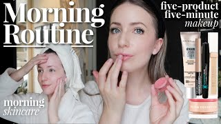 Work-Day Morning Routine | Skincare + 5-Minute Everyday Makeup!