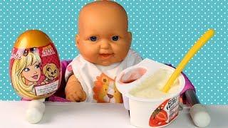 Куклы Пупсики Риси Фрути На Полдник, Барби Яйцо Сюрприз Кормим Куклу Мультик Для девочек