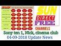 Sony Ten 1 , cinema Club ,Nickelodeon  .FREE  ON SUNDIRECT