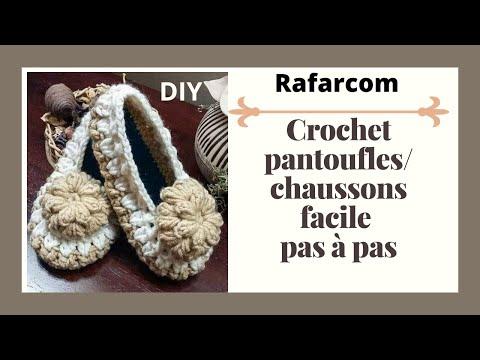 Crochet Pantoufles/ Chaussons facile Pas à Pas  part 1