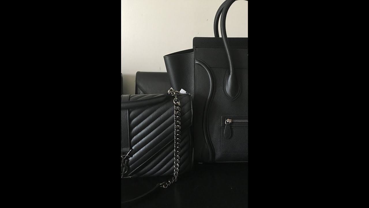 Unboxong Of Celine Mini Luggage And Ysl Collage Bag 2016 By Jackies Woc 19 Cm Nude Ghw