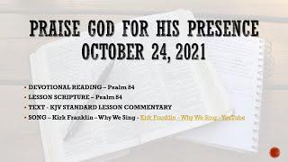 Sunday School Lesson - Prąise God For His Presence - 10242021 - SLMMBC