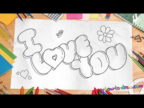 """How to draw 'I Love You"""" in 3D Bubble Letters - Easy step ..."""