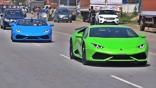 18 Lamborghini's LOUD FLY-BYS + TUNNEL SOUNDS. INDIA
