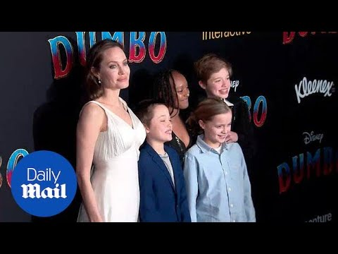 Angelina Jolie and kids embrace on carpet at 'Dumbo' premiere