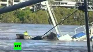 Thrilling video of yacht sinking as man escapes death in Australia flood