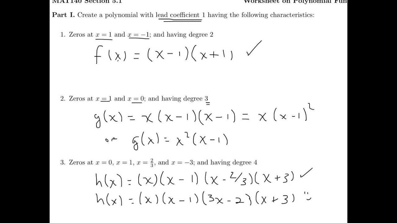 Polynomials Worksheet YouTube – Polynomials Worksheet