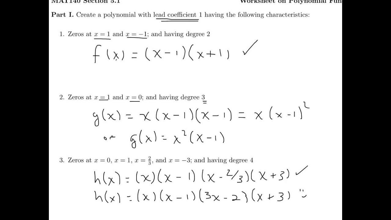Polynomials Worksheet