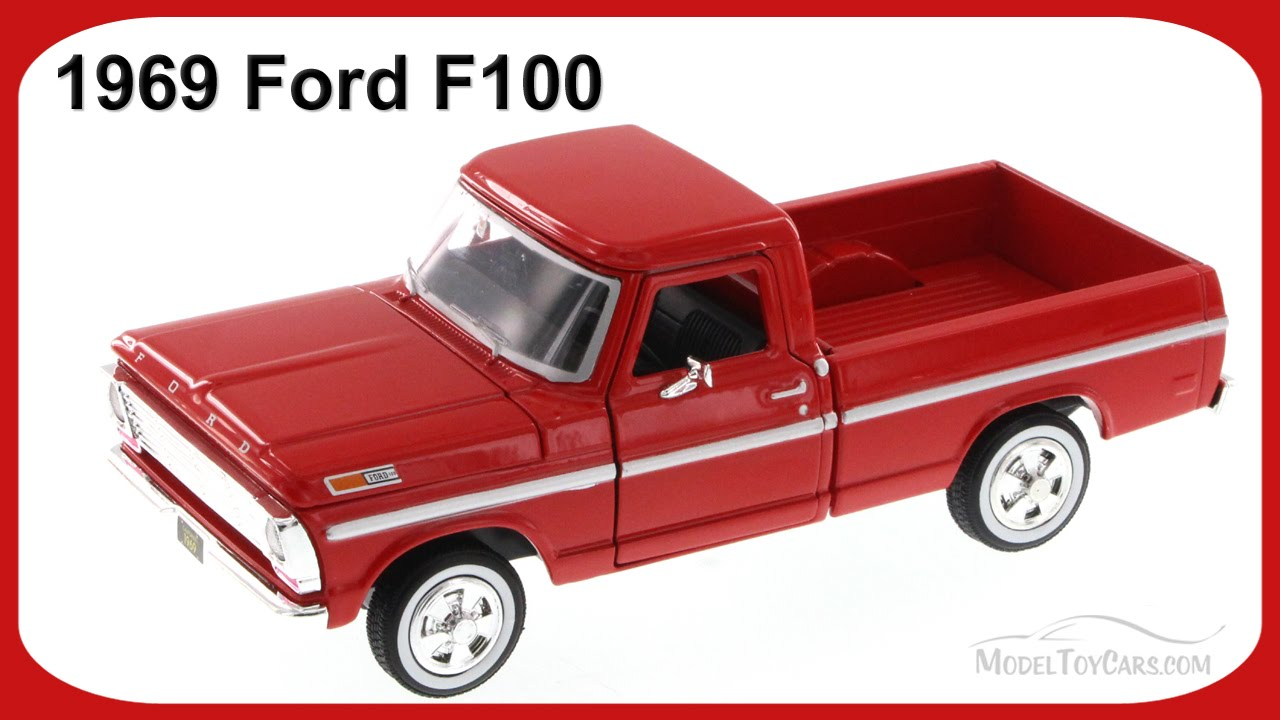 1969 Ford F100 Pick Up Truck Burgundy Showcasts 79315 1 24 Tow Scale Diecast Car