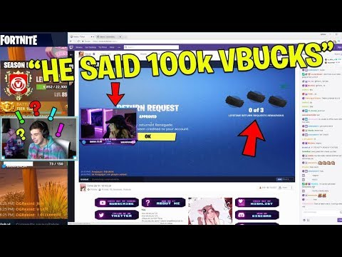 She REFUNDED All of her Skins, so I gifted her 100k V Bucks.. (Fortnite Battle Royale)