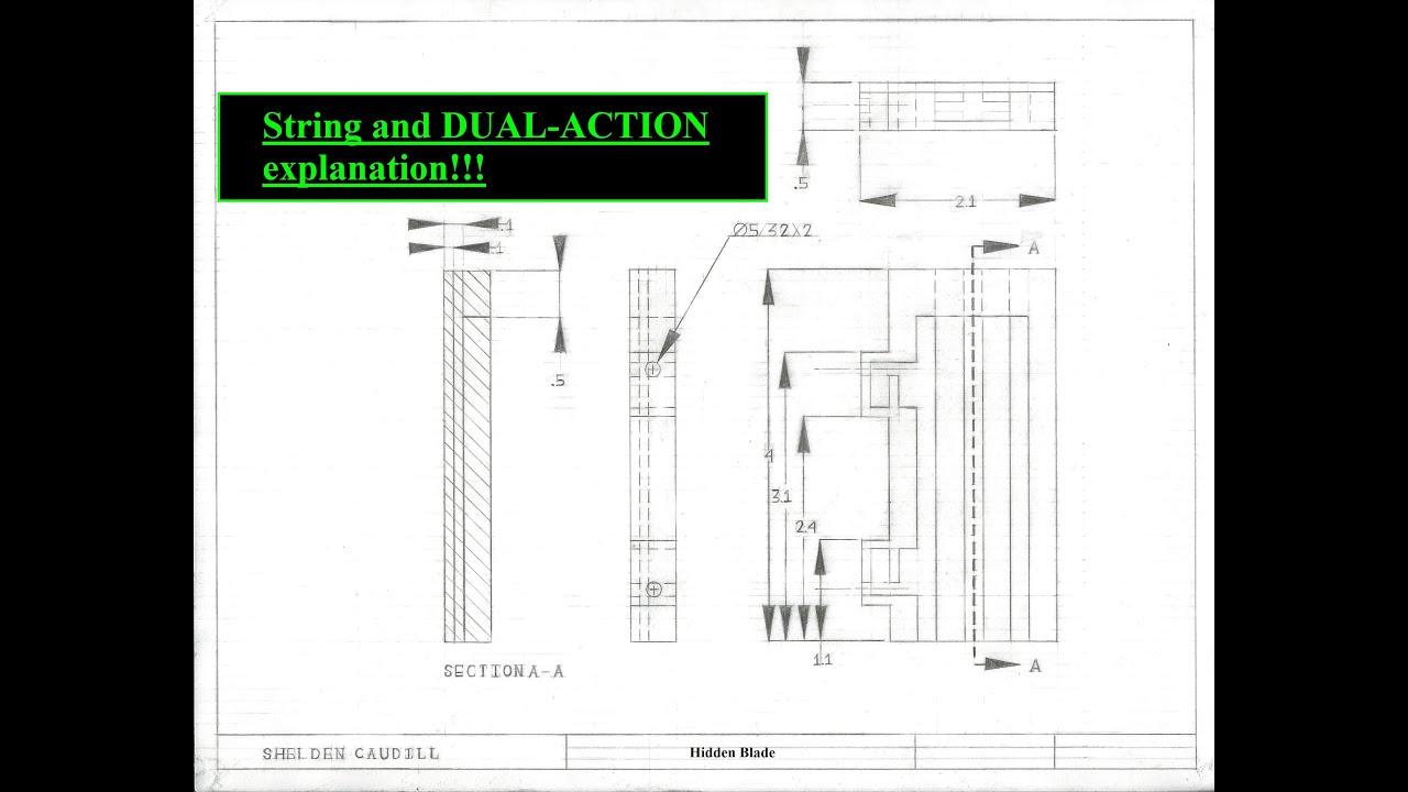 paper mini dual action hidden blade  string mechanism progress  dual action explanation