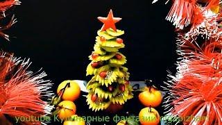 Ну очень красивая ЕЛОЧКА из киви! - Украшения из фруктов & Карвинг фруктов - Новогодний стол