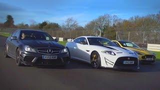 Mercedes C63 AMG Black Series vs Jaguar XKR-S GT vs Aston Martin V12 Vantage S: supercoupe shootout