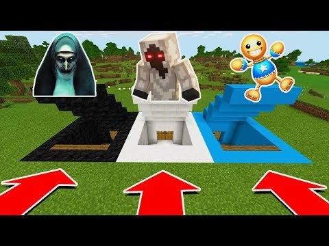 MINECRAFT PE: DO NOT CHOOSE THE WRONG SECRET BASE (The Nun, Entity 303, & Kick the Buddy)
