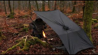 SOLO Overnight Camping iฑ Mild Rain - Bushcraft Poncho Shelter, Canvas Tent, Woodstove, Beech Forest