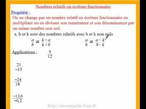 4eme Cours De Maths En Video Sur Les Fractions Et La Simplification Avec Des Exercices Corriges Youtube