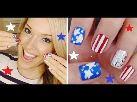 American Flag Inspired Nails!!! Great For Fourth Of July Nails!!!