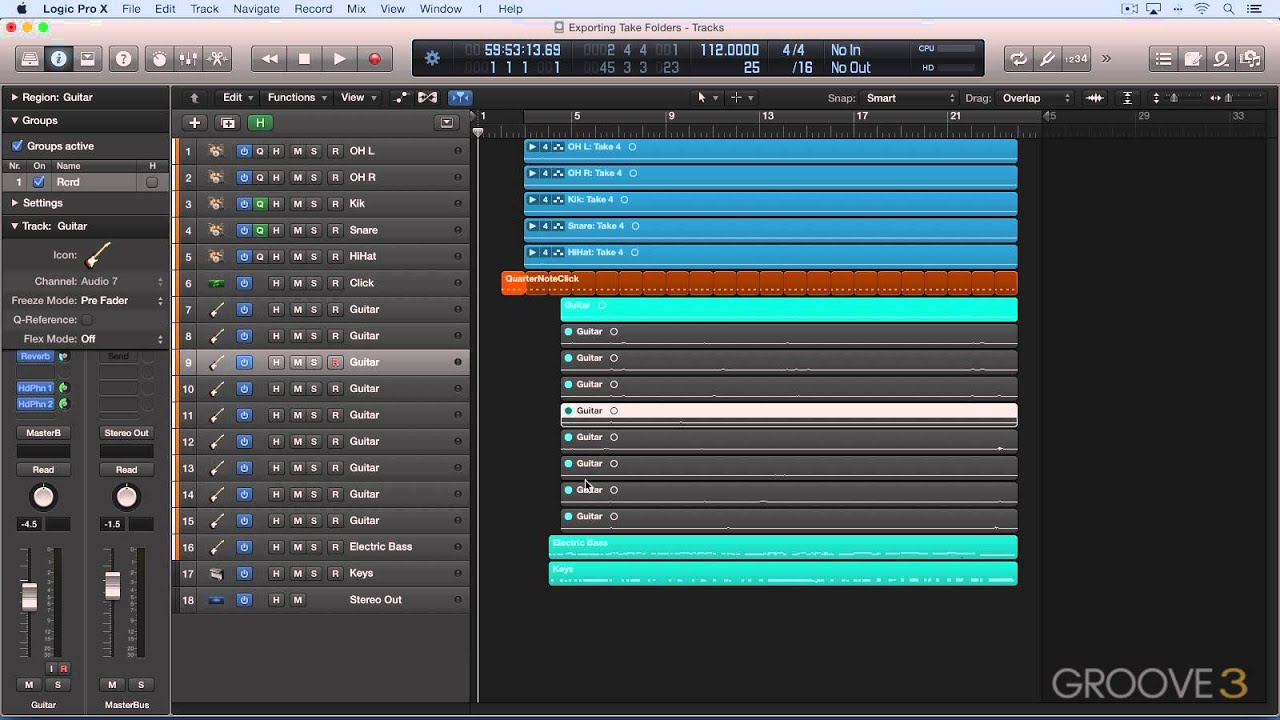 Take Folders (Exporting Multi-Tracks in Logic)