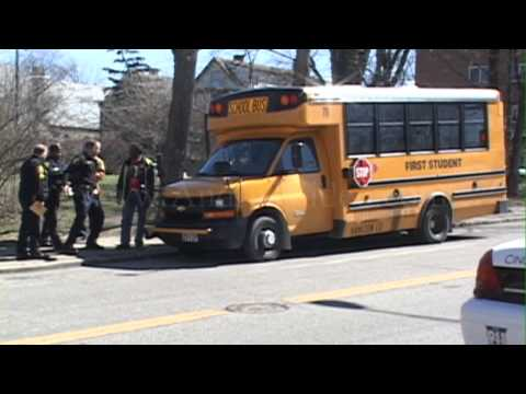 Harvey Ave at Forest Ave School Bus vs Kids