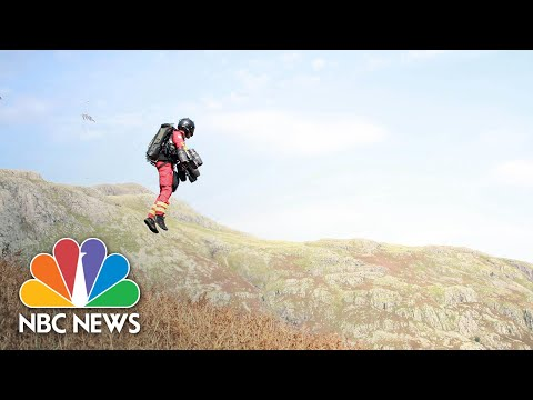 WATCH: Jet Suit Paramedic Joins Mountain Rescue Drill | NBC News NOW