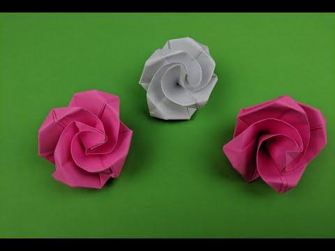 Как легко сделать розу из бумаги в технике оригами за пару минут. How to make a paper rose
