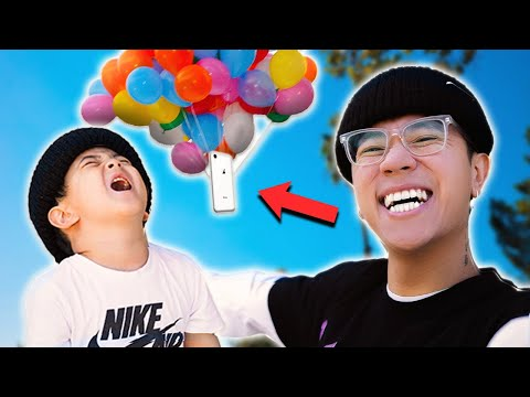 His Phone Flew Away w/ BALLOONS!! **PRANK SUCCESSFUL**