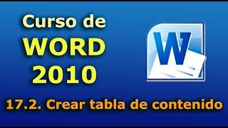 Curso de Word 2010.  17.2. Crear tabla de contenido. thumbnail
