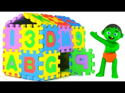 SUPERHERO BABIES BUILD AN ABC HOUSE 鉂� SUPERHERO PLAY DOH CARTOONS FOR KIDS