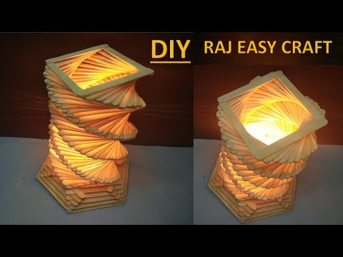 How to make ice cream stick lamp || Diy || Popsicle stick stick craft || raj easy craft