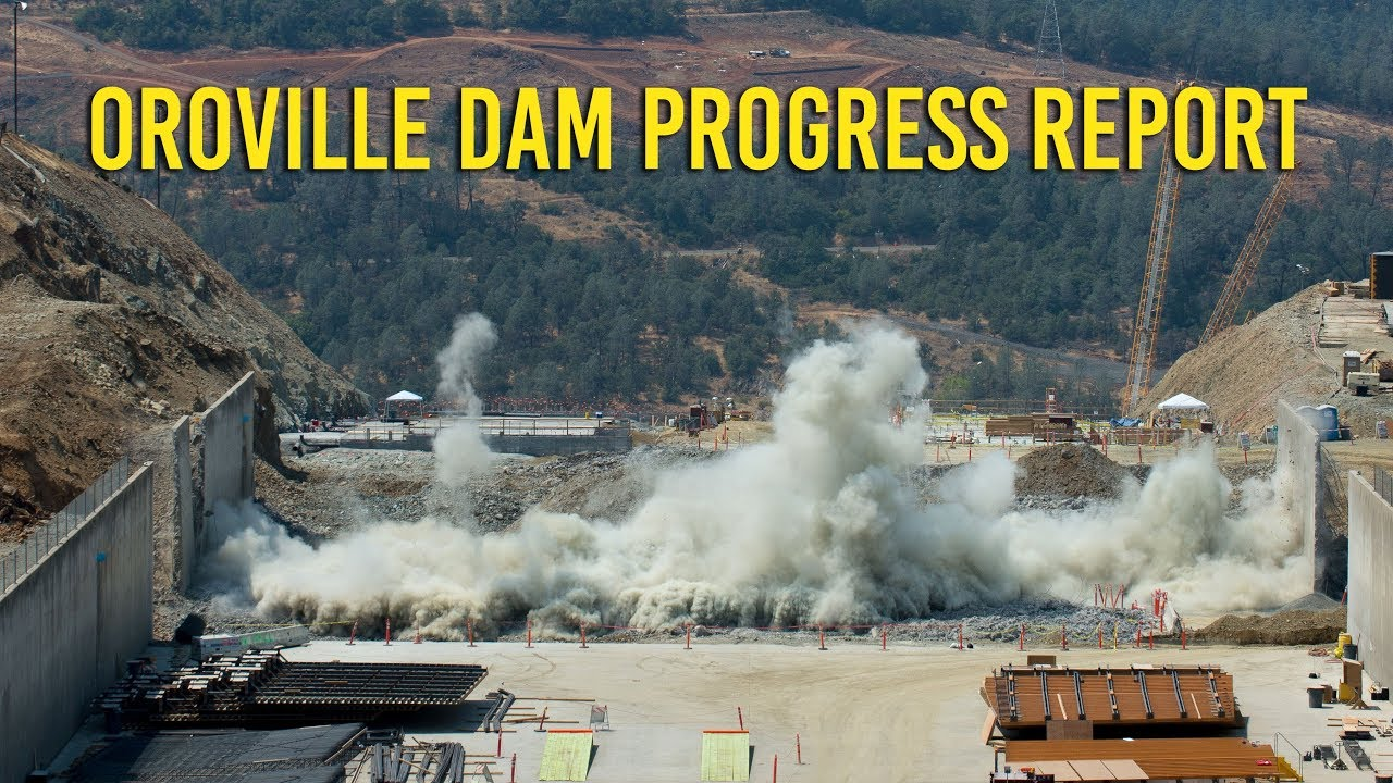 Drone video shows Oroville Dam spillway repairs advancing