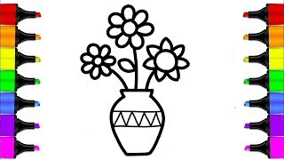 How to Draw a Flower Vase | Coloring Book for Kids