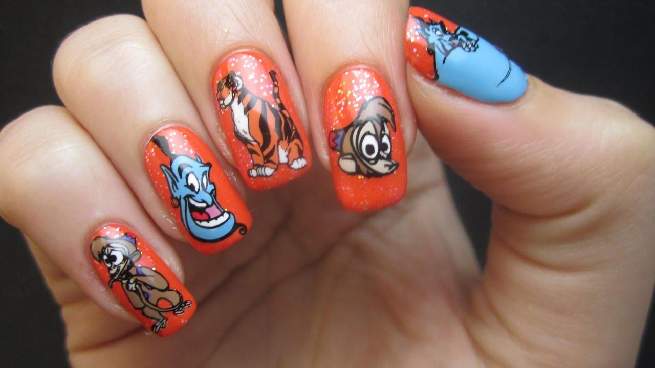 Disney Aladdin Genie Abu Raja Reverse Stamping Nails Using Bbf Nail Art
