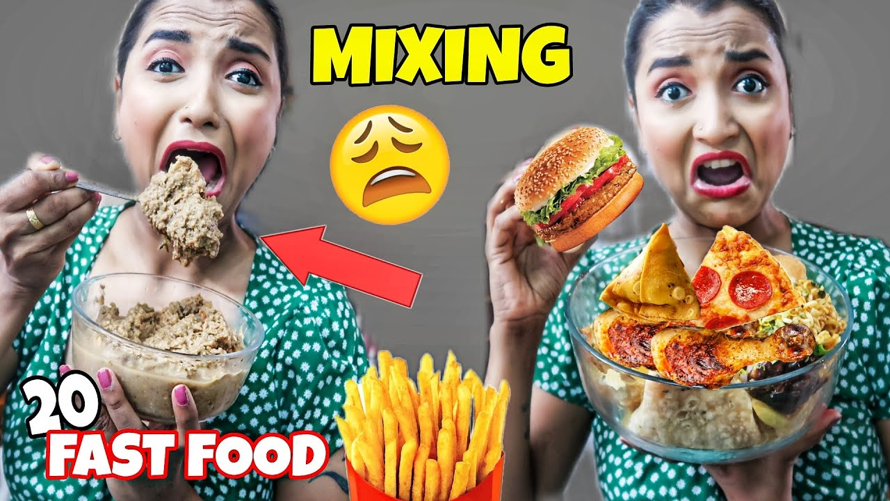 MIXING 20 Different FAST FOOD & EATING IT - বিষাক্ত ALIEN FOOD তৈরী - BLENDED FOOD Challenge India