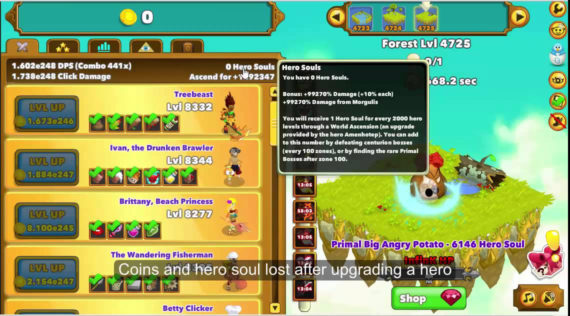 Clicker Heroes Final Boss - Primal Big Angry Potato - Infinite HP - Level  4725 [Last Level] Hack