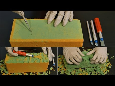 ASMR Deep Floral Foam Sounds With Surgical Gloves| Carving, Cutting, Tracing
