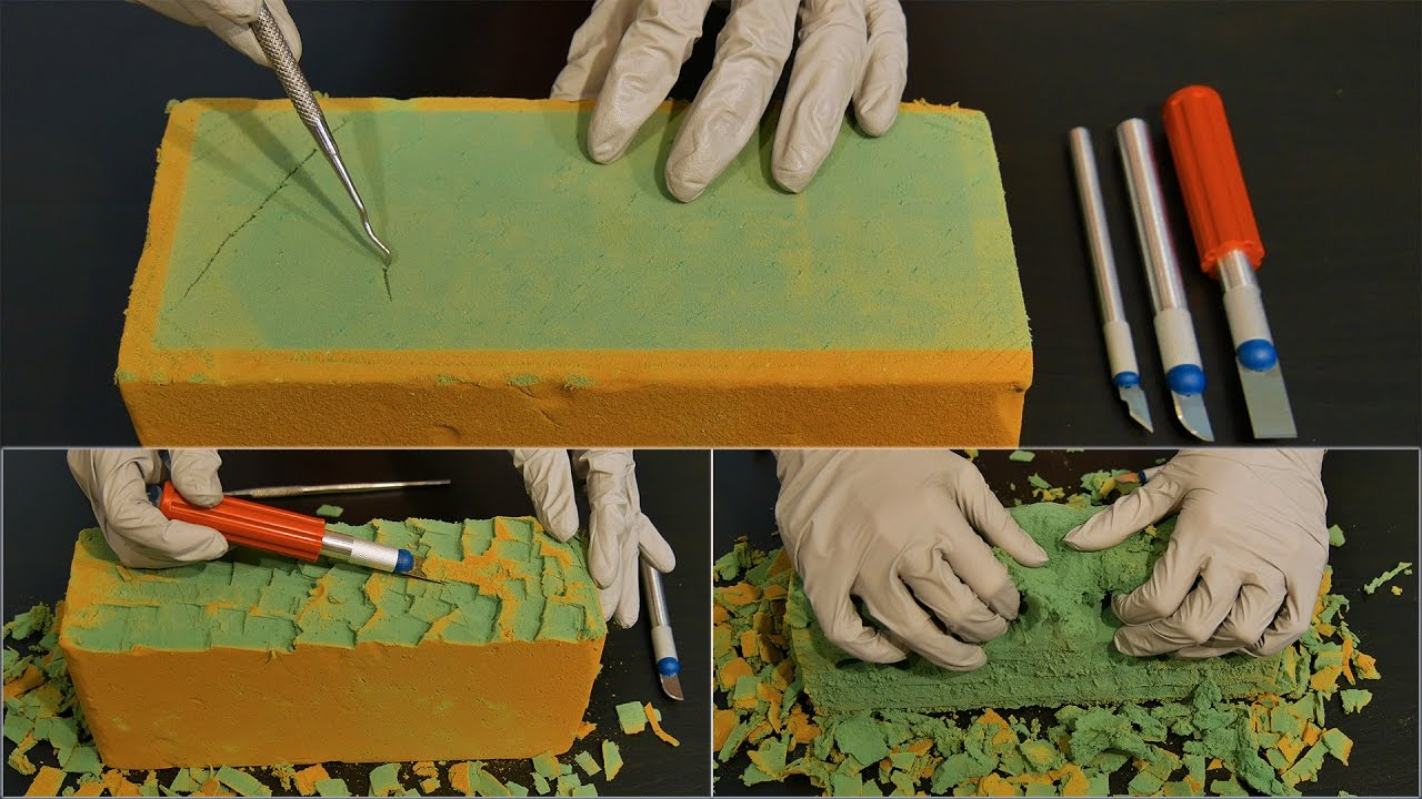 Asmr deep floral foam sounds with surgical gloves carving