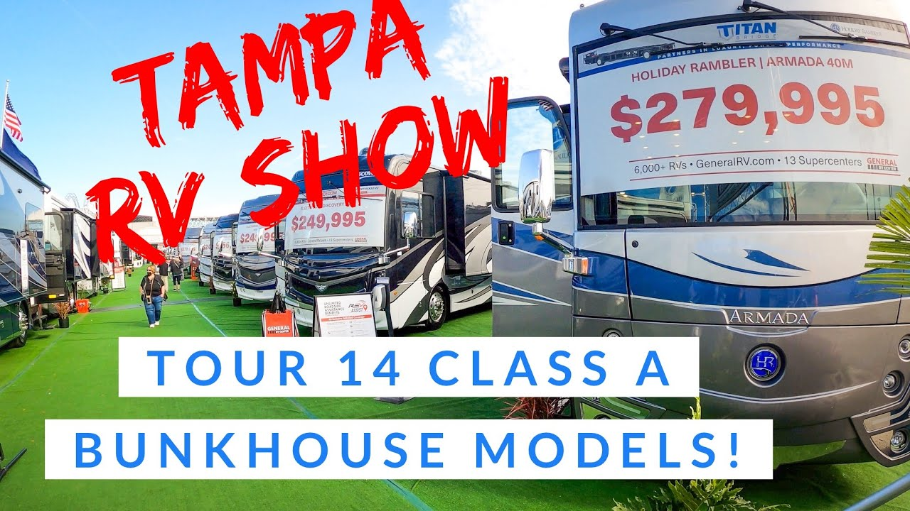 Download We tour 14 Class A Bunkhouse Motorhomes at the Tampa RV Super Show!!! Fulltime Family of 6!