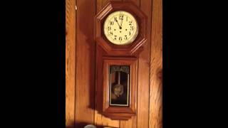 Ridgeway Oak Regulator Wall Clock With Quarter Hours Chimes And Hour Chime
